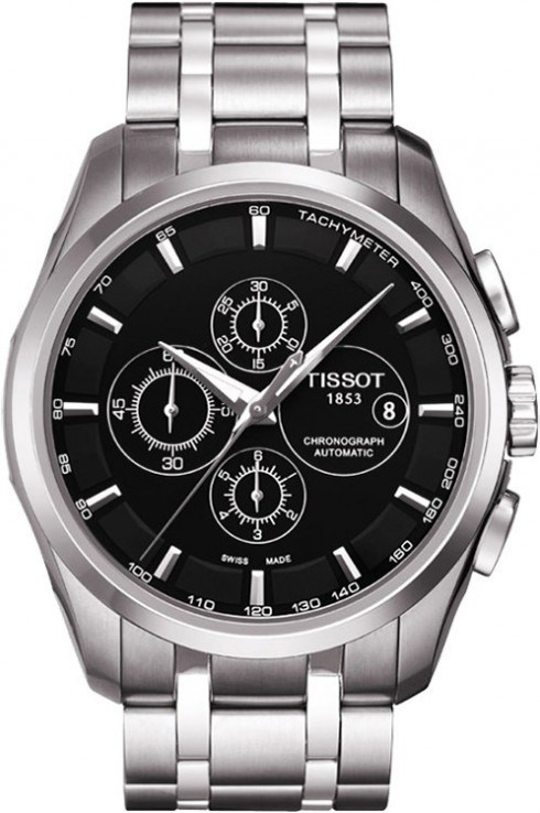 Tissot Couturier Automatic Chronograph Black Dial Men's Watch-T0356271105100
