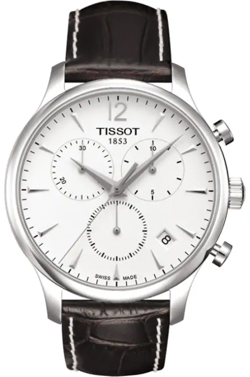 Tradition Men's Chrono Quartz Silver Dial Watch with Brown Leather-T0636171603700