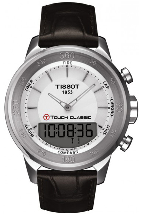 Tissot T-Touch Silver Dial Brown Leather Mens Watch T0834201601100-T0834201601100
