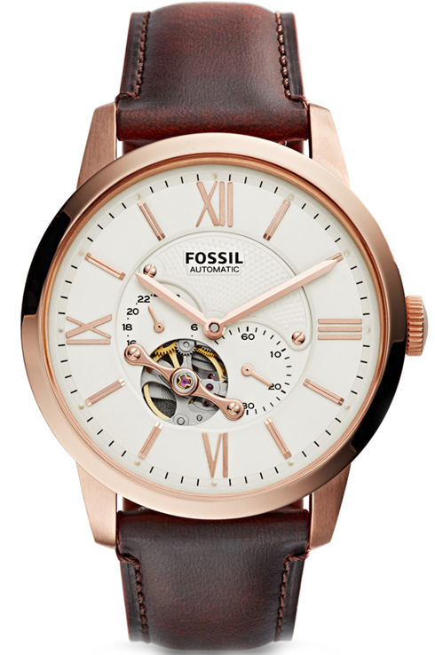 fossil townsman analog off-white dial men's watch-ME3105