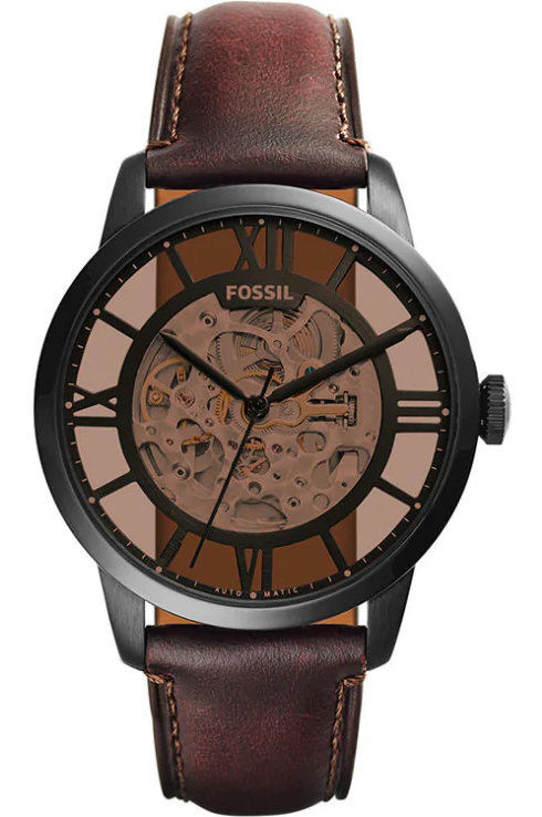 fossil townsman automatic brown skeleton dial men's watch-ME3098