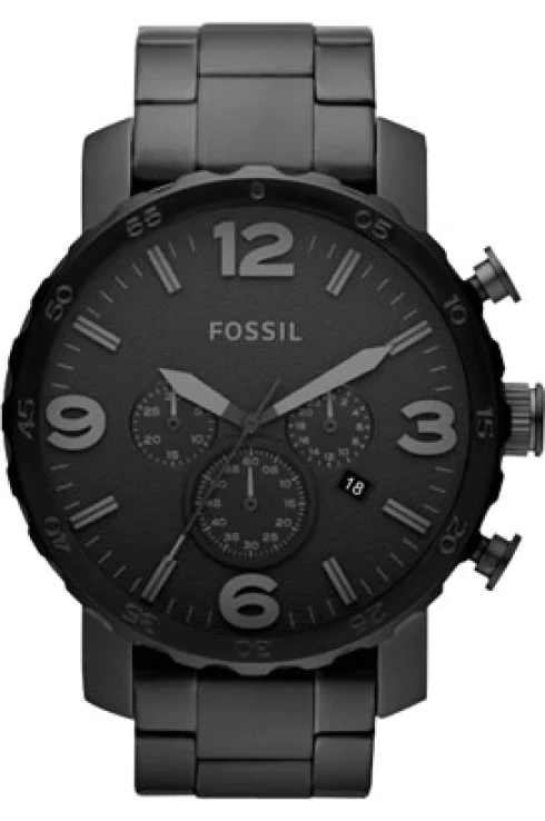 fossil men's nate black stainless steel watch-JR1401I