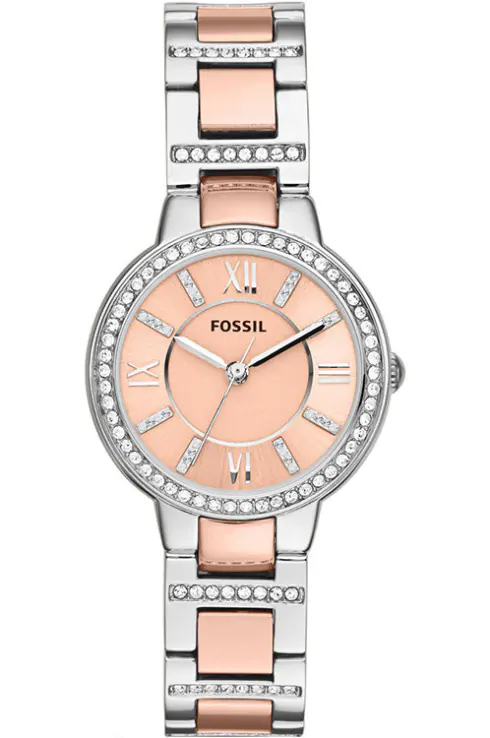 fossil women's virginia stainless steel two-tone watch-ES3405I