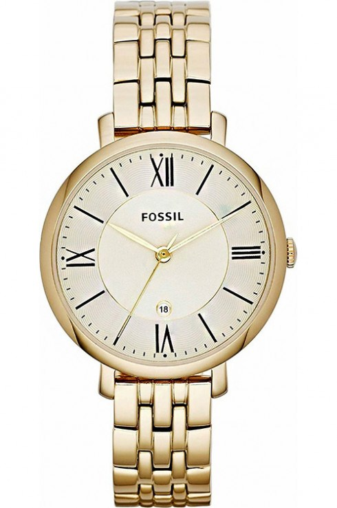fossil women's jacqueline analog gold watch-ES3434I