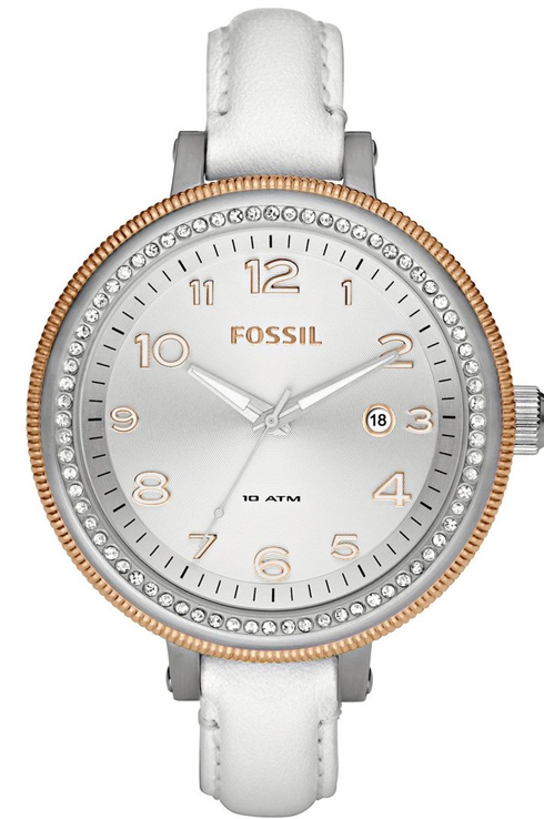 Fossil Bridgette Leather White Watch-AM4362