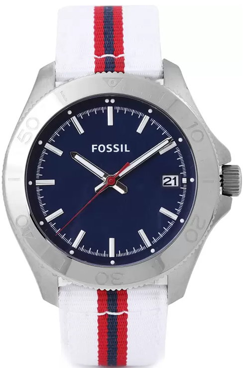 Fossil Retro Traveler Three Hand Nylon Watch - White- Am4480