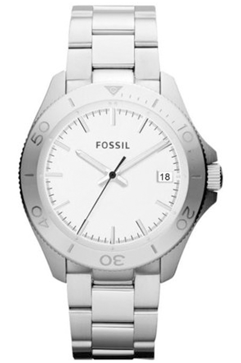 Fossil Men's Retro Traveler Silver Stainless-Steel Analog Quartz Watch with Silver Dial- AM4440