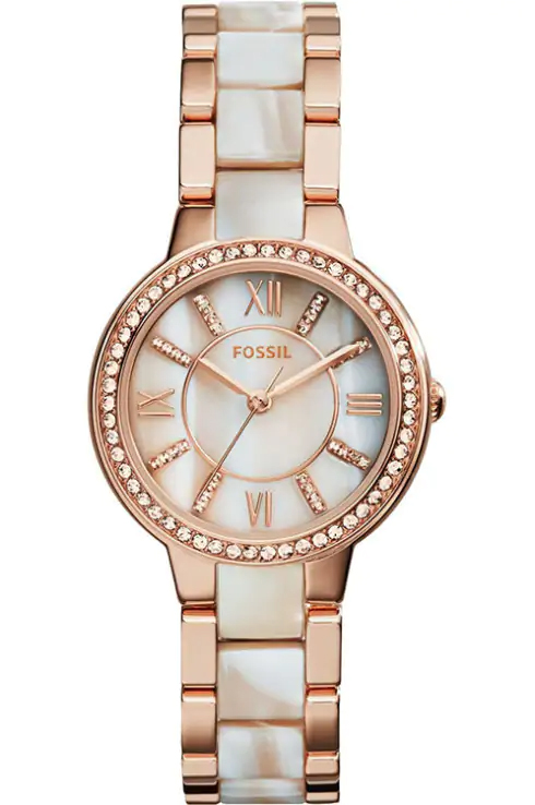 Fossil Virginia and Horn Acetate Ladies Watch-ES3716I