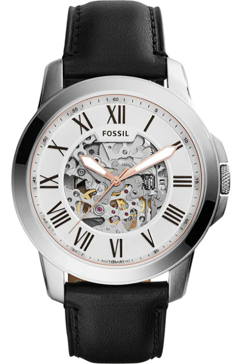 Fossil Grant Skeleton Black Leather Men watch-ME3101I