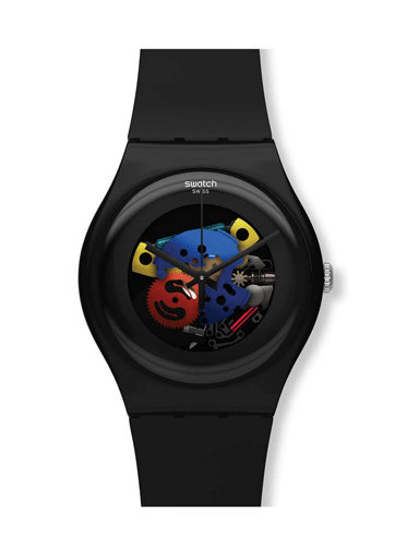 Swatch SUOB101 Unisex Black Lacquered Skeleton Dial Silicone Strap Plastic Watch-SUOB101