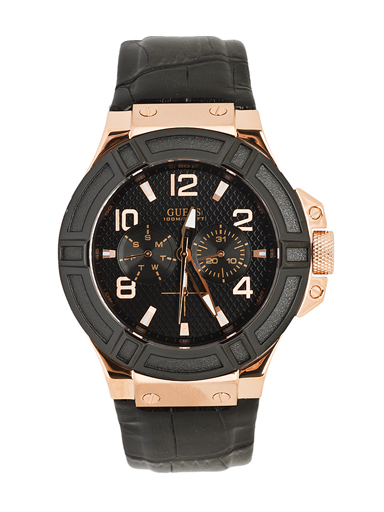 Guess W0040G5 mm Stainless Steel Case Black Calfskin Mineral Men's Watch-W0040G5