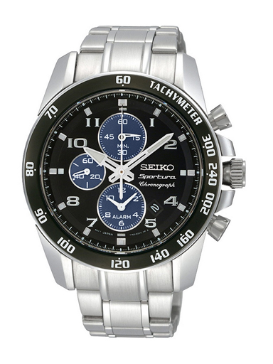 Seiko Sportura Chronograph Black Dial SNAE63P1 Men's Watch-SNAE63P1