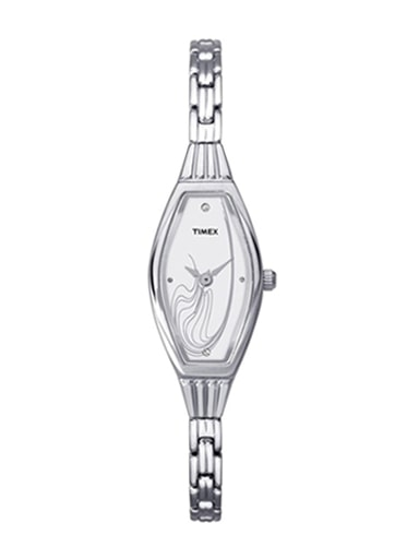 timex analog silver colour dial watch for women- TW000UV08