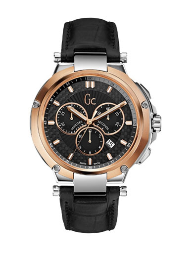 Gc Gents Black Dial Black Leather Strap Watch-X66001G2S