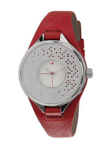 Fastrack Red/Silver Analog Watch-NE6058SL02