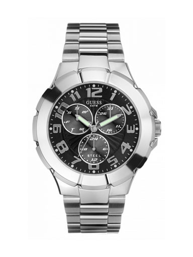 GUESS Men's Steel Stainless Steel Black Multifunction Dial Watch-I90199G3