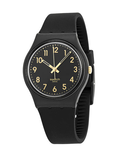 swatch golden tac black dial black silicone unisex watch-GB274