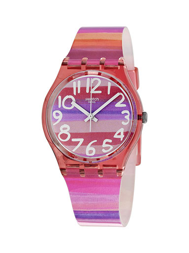 Swatch Astilbe Pink Dial Pink Silicone Watch-GP140