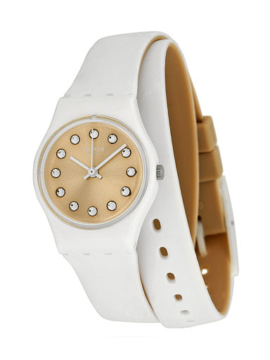 swatch gold-tone dial white silicone strap ladies watch-LW142