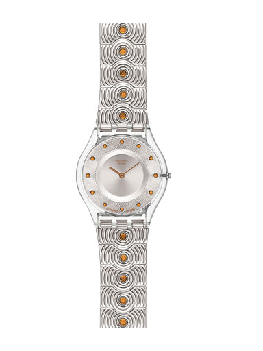 Swatch Women's Wrist Watch Circle Over with Stainless Steel Bracelet Strap-SFK284G