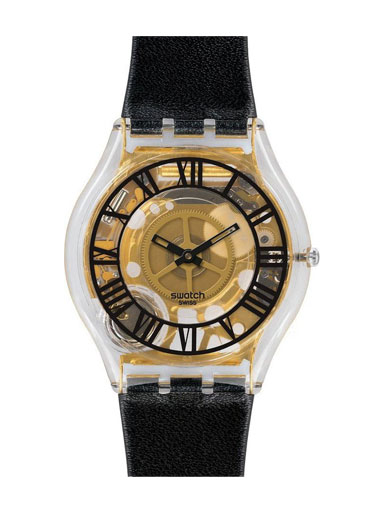 Swatch Forot Noire Transparent Gold Dial Black Leather Ladies Black Watch-SFK392