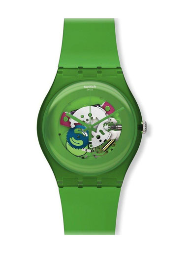 Swatch Unisex Green Lacquered Watch-SUOG103