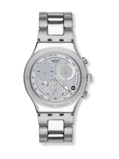 Swatch Chronograph Silver Dial Men's Watch-YCS549G