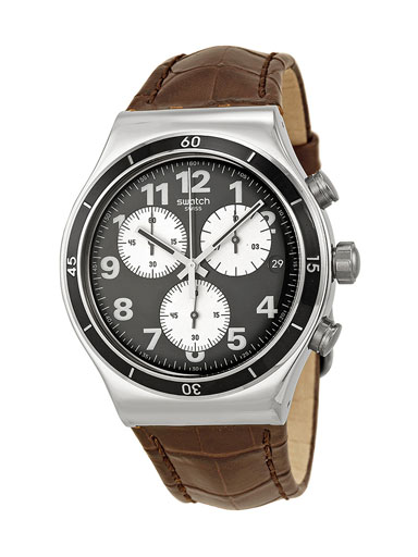 Swatch Irony Browned Chronograph Black Dial Leather Strap Men's Watch-YVS400
