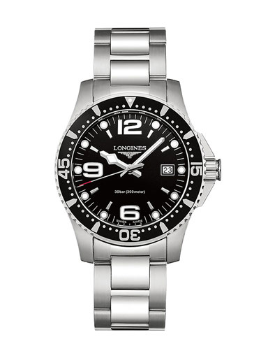 Longines Hydro Conquest Stainless Steel Black Dial Men's Watch-L37404566