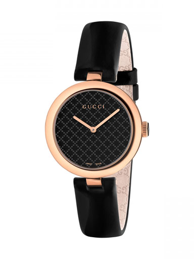 Gucci Diamatissima Black Lacquered Dial Pink Gold PVD Leather Ladies Watch-YA141401