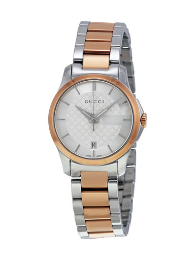 Gucci G-Timeless Silver Dial Two-tone Ladies Watch-YA126528