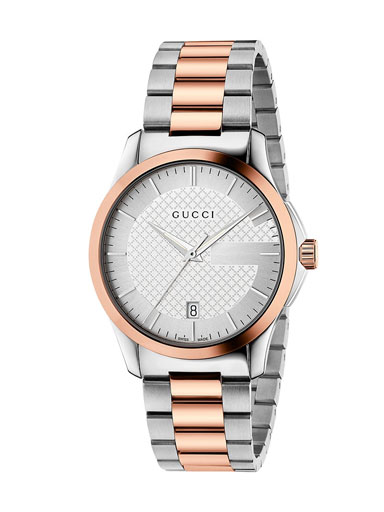 Gucci G-Timeless Silver Dial Stainless Steel and Pink Gold PVD Unisex Watch-YA126447