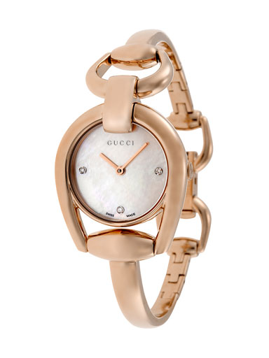 Gucci Horsebit Mother of Pearl Dial Rose Gold PVD Ladies Watch-YA139508