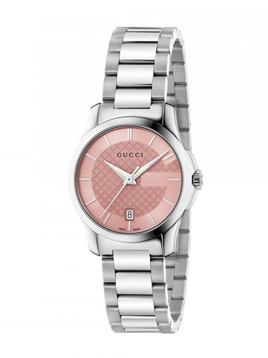 Gucci G-Timeless Pink Dial Stainless Steel Ladies Watch-YA126524