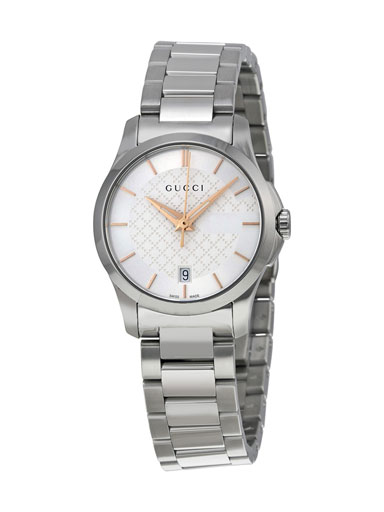Gucci G-Timeless Silver Dial Stainless Steel Ladies Watch-YA126523