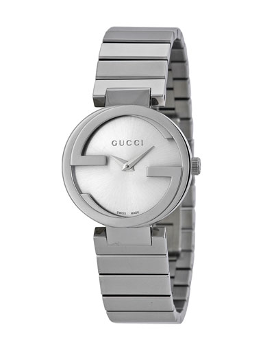 Gucci Interlocking Small Silver Dial Stainless Steel Ladies Watch-YA133503