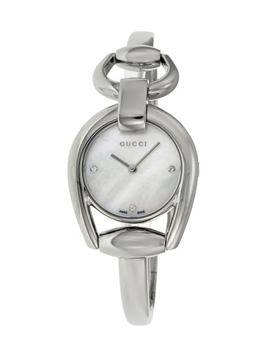 Gucci Horsebit Mother of Pearl Dial Stainless Steel Ladies Watch-YA139506