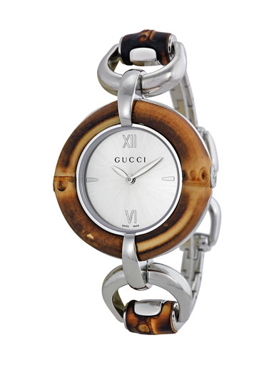 Gucci Silver Dial Bamboo and Stainless Steel Ladies Watch-YA132403