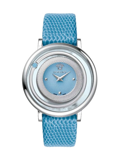 Versace Women's Venus Stainless Steel Topaz-Accented Watch with Leather Band-VFH020013