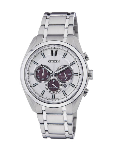 Citizen Eco-Drive Chronograph Silver Dial Titanium Metal CA4011-55A Men's Watch-CA4011-55A