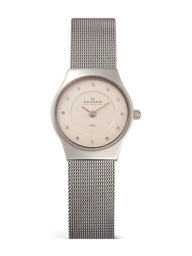 Skagen Ladies Watch with Silver Stainless Steel Bracelet and Silver Dial-233XSSZP