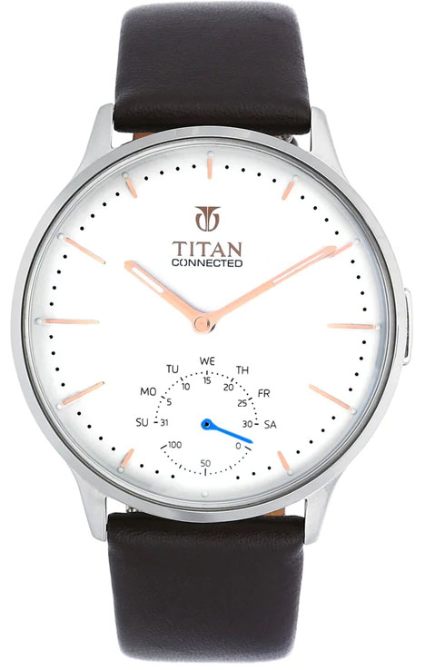 titan connected white dial black leather strap smart watch 90099sl02-90099SL02