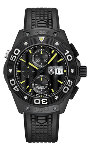 Tag Heuer Aquaracer Chronograph Automatic Black Dial Titanium Mens Watch-CAJ2180.FT6023