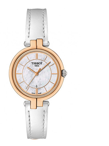 Tissot Flamingo White MOP Dial Leather Women's Watch-T0942102611101