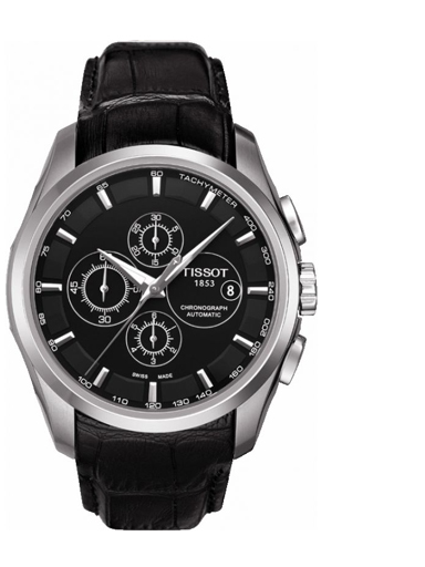 Tissot T-Classic Couturier Black Chronograph Dial Watch For Men's-T0356271605100