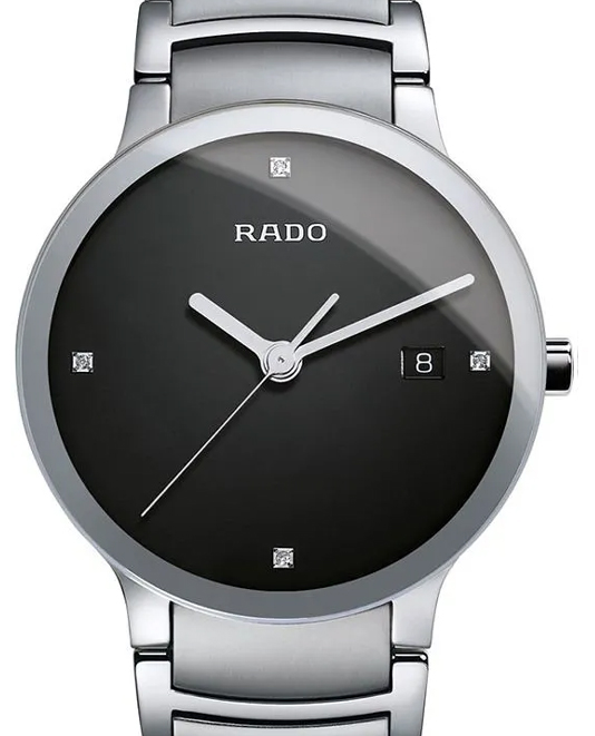 Rado Centrix Diamonds Black Dial Men Steel Quartz Watch-R30927713