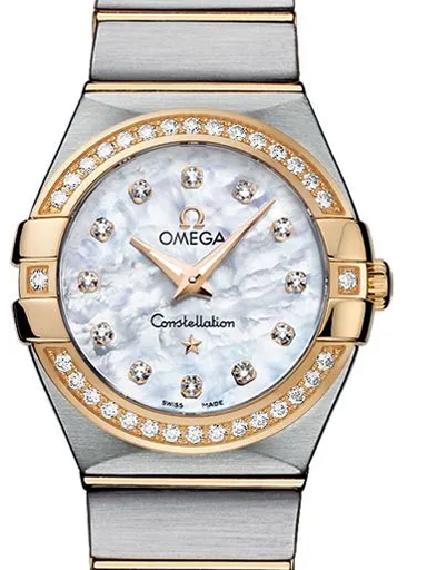 Omega Constellation Steel - Yellow Gold White Diamonds Dial Watch For Women's-O12325276055003