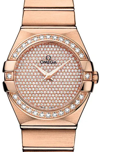 Omega Constellation Red Gold Diamonds Dial Women's Watch-O12355276099004