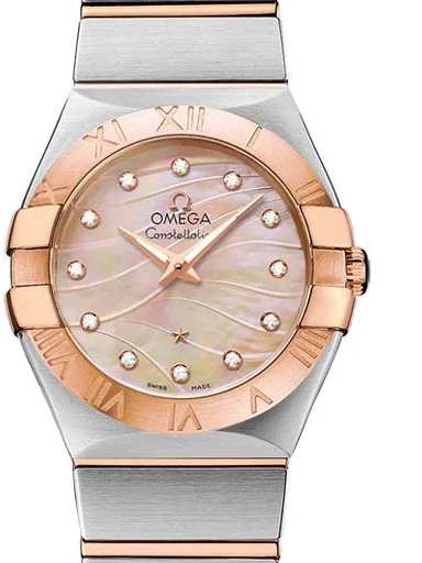 Omega Constellation Red Dial Diamonds Women's Watch-O12320276057002