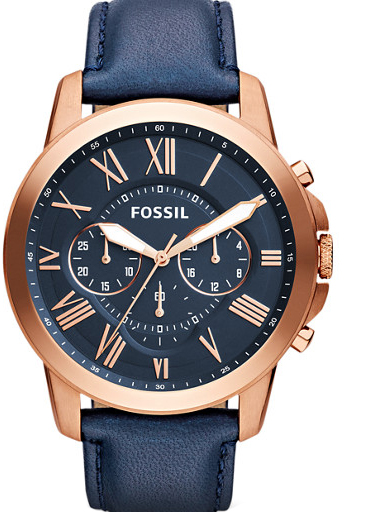 Fossil Men's Grant Blue Leather Watch-FS4835I